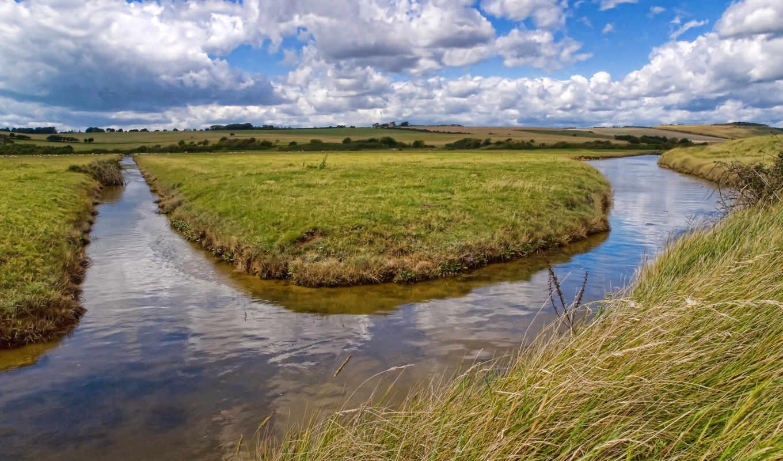 облака, канал, вода, река, трава, skyscapes, landscapes,