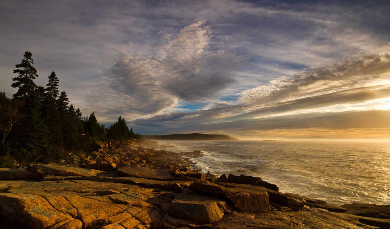 камни, волны, берег, море, дорога, зарегистрируйте, лес, рейтинг, приода,