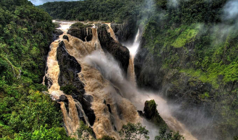 водопад, falls, река, barron, водопады, park, австралия, trees, мира, водопадов,