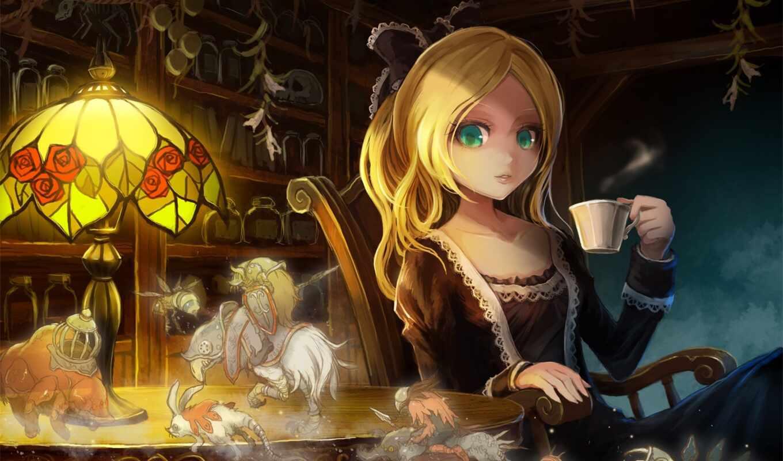 anime, ume, зеленые, девушка, свет, оригинал, eyes, зелёный, takarl, blonde,