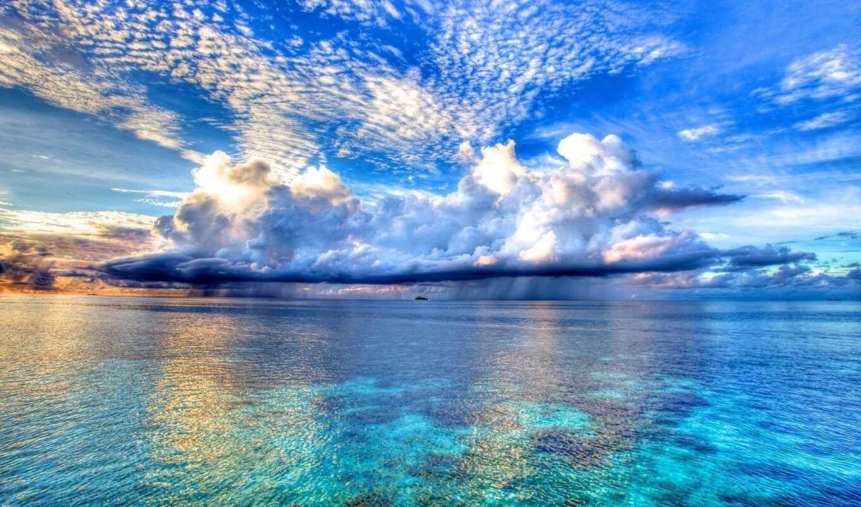 красавица, heavenly, красивый, облако, картинка, природа, небо, море, огонь, фон