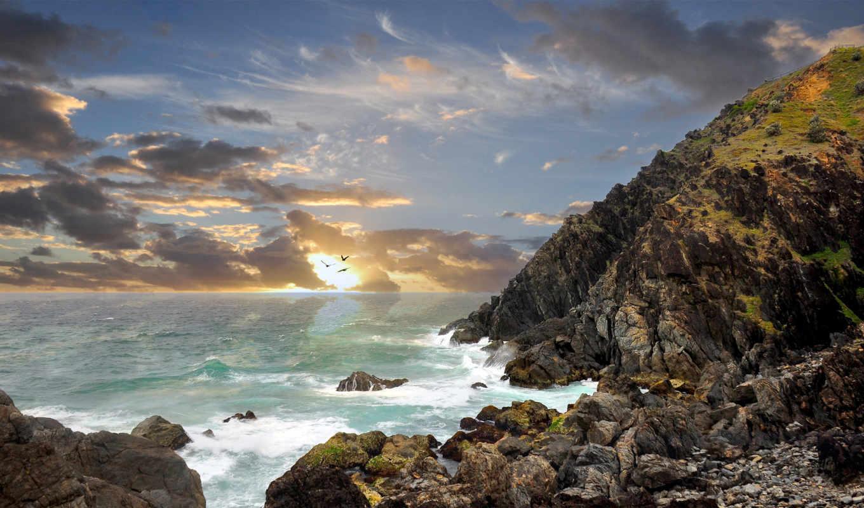 ipad, австралия, скалы, sun, позитивные, камни, прикольные, свет, смайлики, берег, byron,