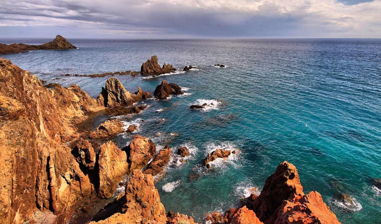 ^море, горы, landscape, волны, скалы, небо, water,