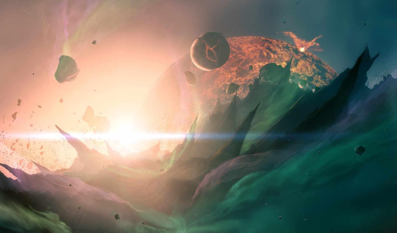 cosmos, bang, планеты, огонь, cosmic, космосе, трещины, planet, главная, корабль,