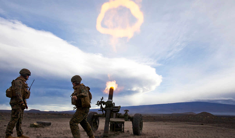 shot, мортира, поле, военные, залп, небо, оружие,