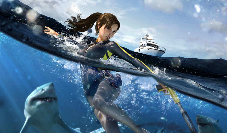 tomb, raider, croft, lara, underworld, вода, яхта, акула, multimedia, download, игрой, galerie,