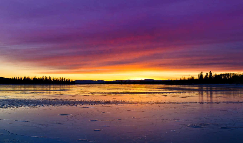 небо, пейзаж, природа, облака, лед, озеро, закат, краски, отражение, деревья,