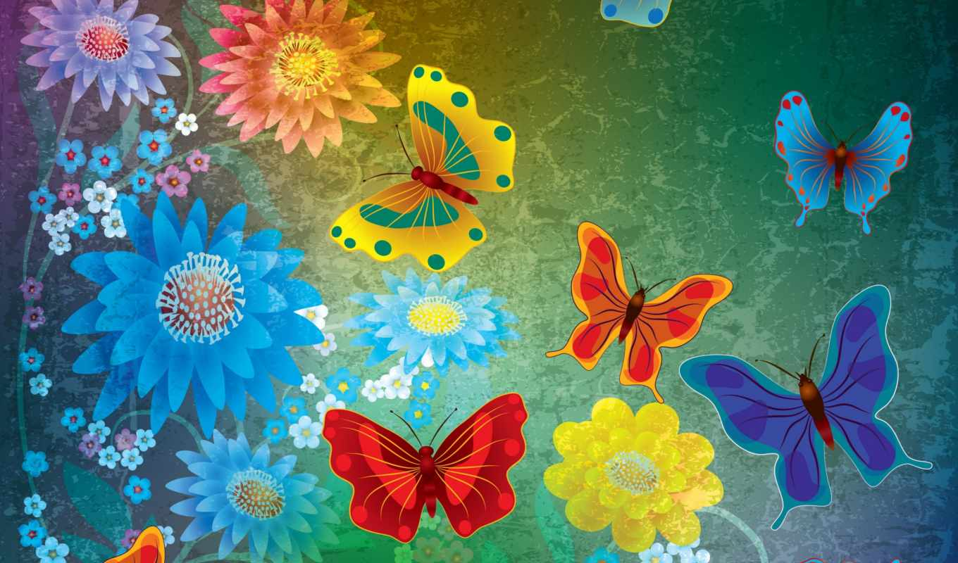 grunge, abstract, butterflies, flowers, бабочки, design, цветы,