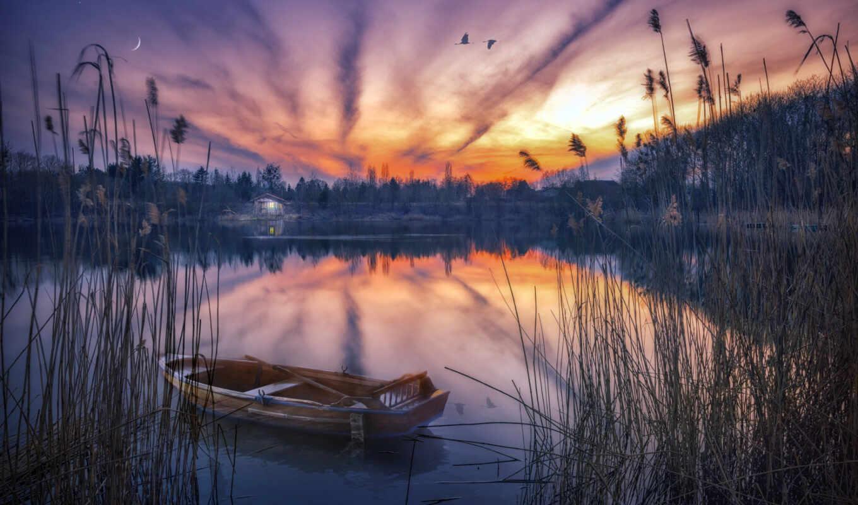 landscape, natural, закат, фото, попа, озеро, лодка, albert, prince, church