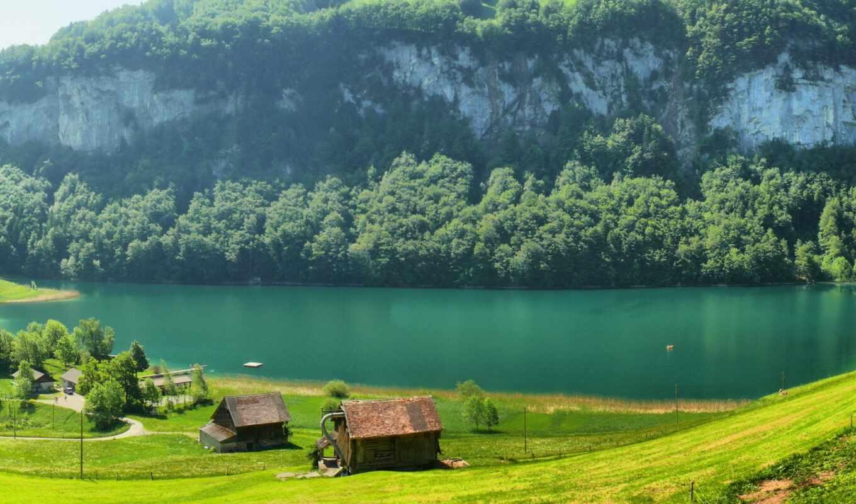 швейцария, swiss, гора, lodge, поляна, река, трава