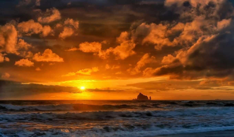 закат, море, природа, sun, rising