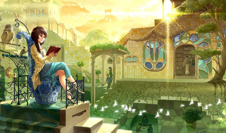 девушка, птицы, книга, город, обои, сова, сидит, ч