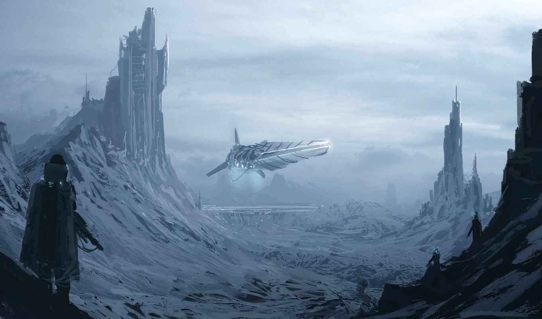 обои, фантастика, башни, арт, mountains, снег, гор