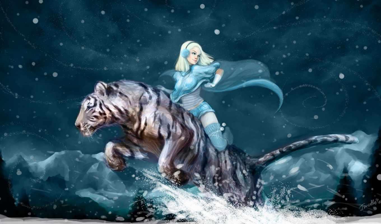 тигр, аниме, белый, девушка, горы, зима, ночь, снег, happy, new, year, картинку,