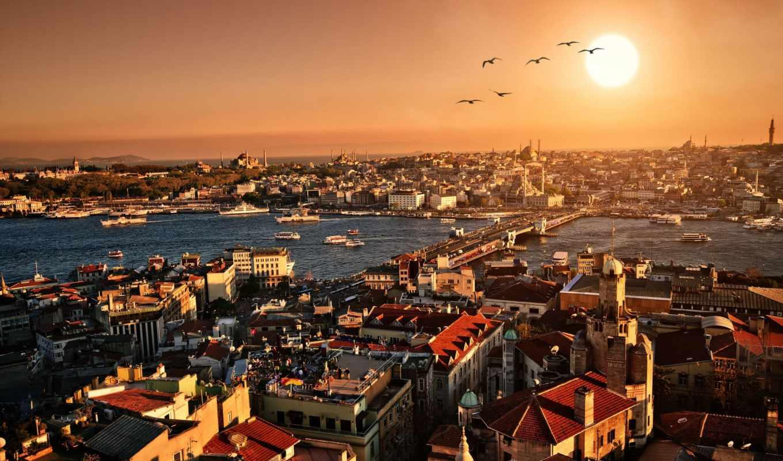 город, вечер, istanbul, закат, здания, архитектура, картинку,