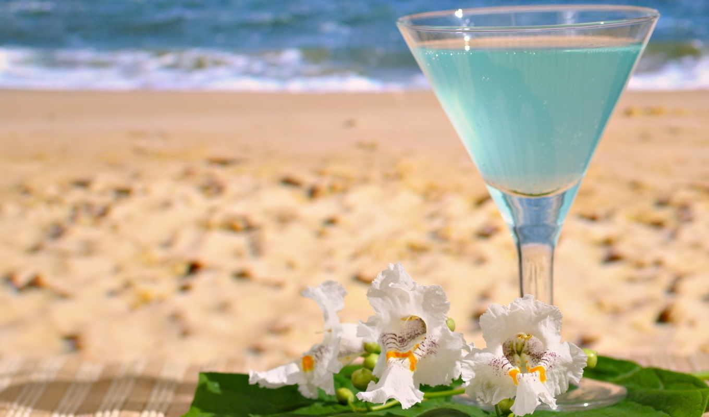 cocktail, море, песок, напиток, пляж, стакан, картинка, blue, summer, with,