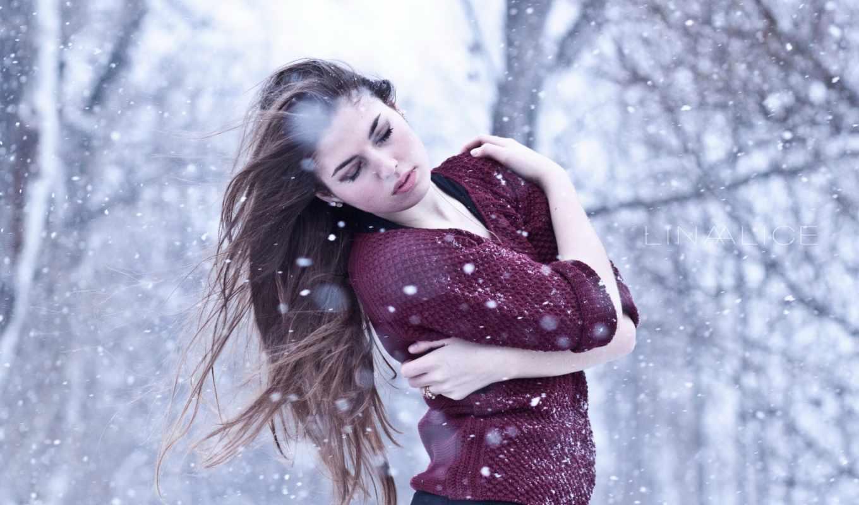 снег, зима, девушка,