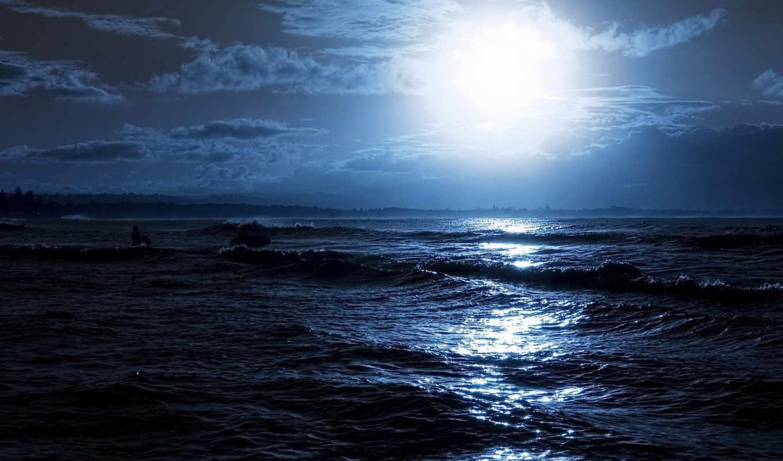 природа, море, ночь, луна, фоны, телефон,
