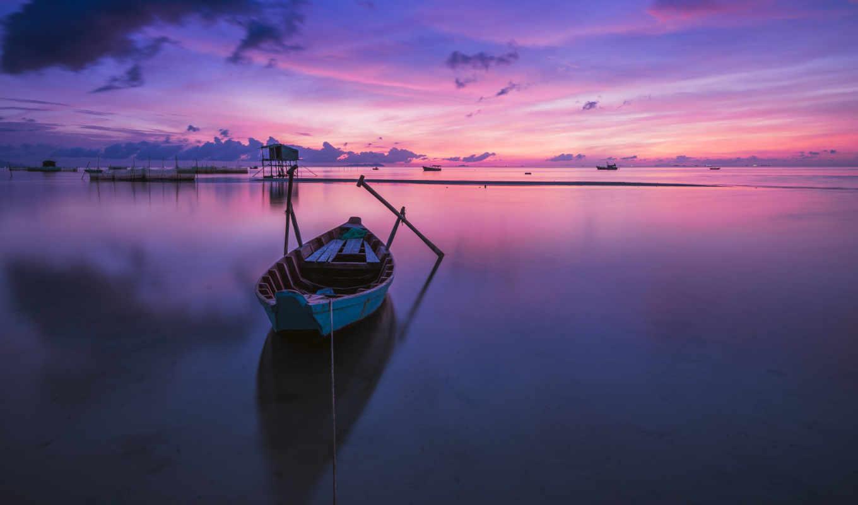 , пурпурный, восход, лодка, море, вода,