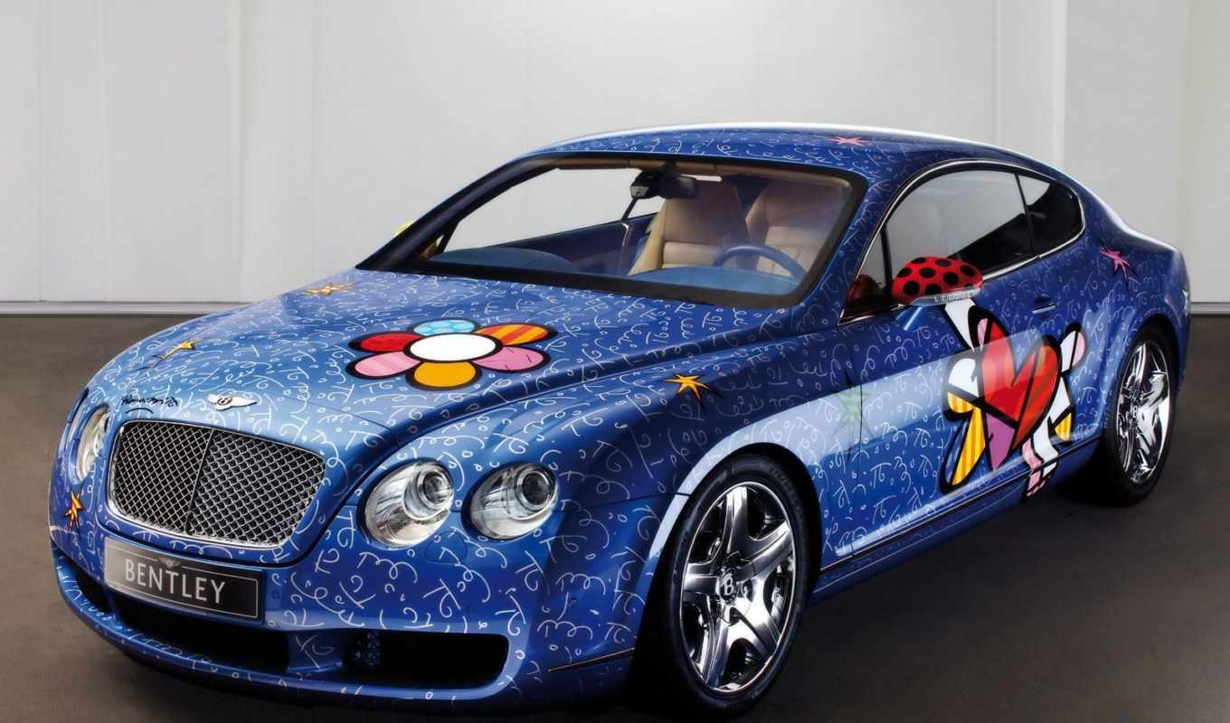 bentley, blue, continental, gt, the, with, художни