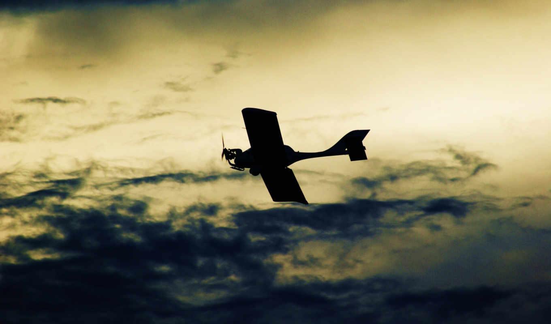 картинка, облака, полет, самолёт, небо,