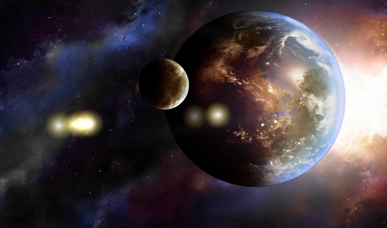 земля, планеты, галактика, арт, картинку,