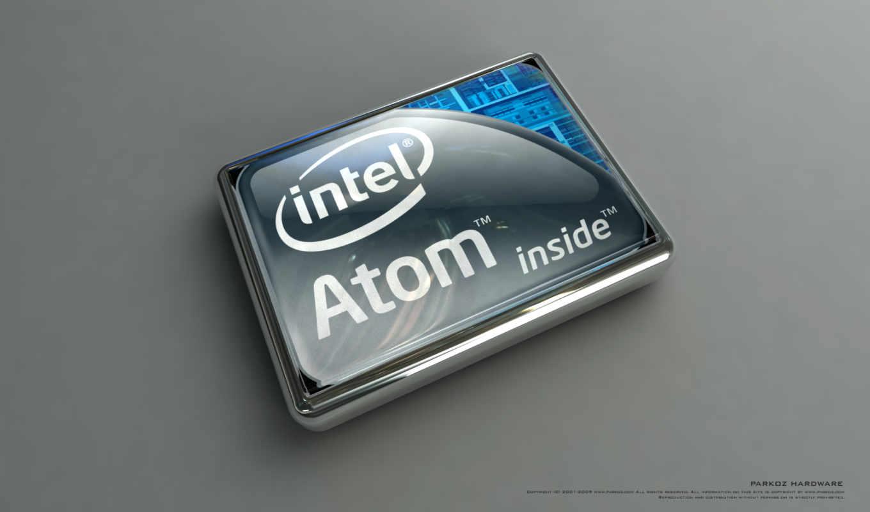 atom, intel, logo, grey, blue