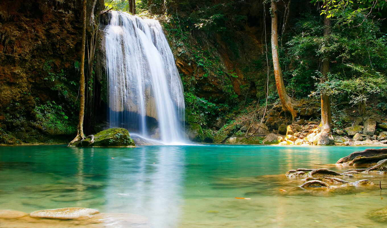 водопад, природа, водопады, деревья,