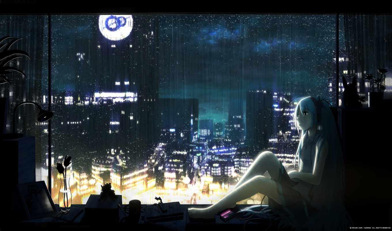 девушка, anime, ночь, окно, город, смотрит, vocaloid, art, devushki, яndex, вокалоид,