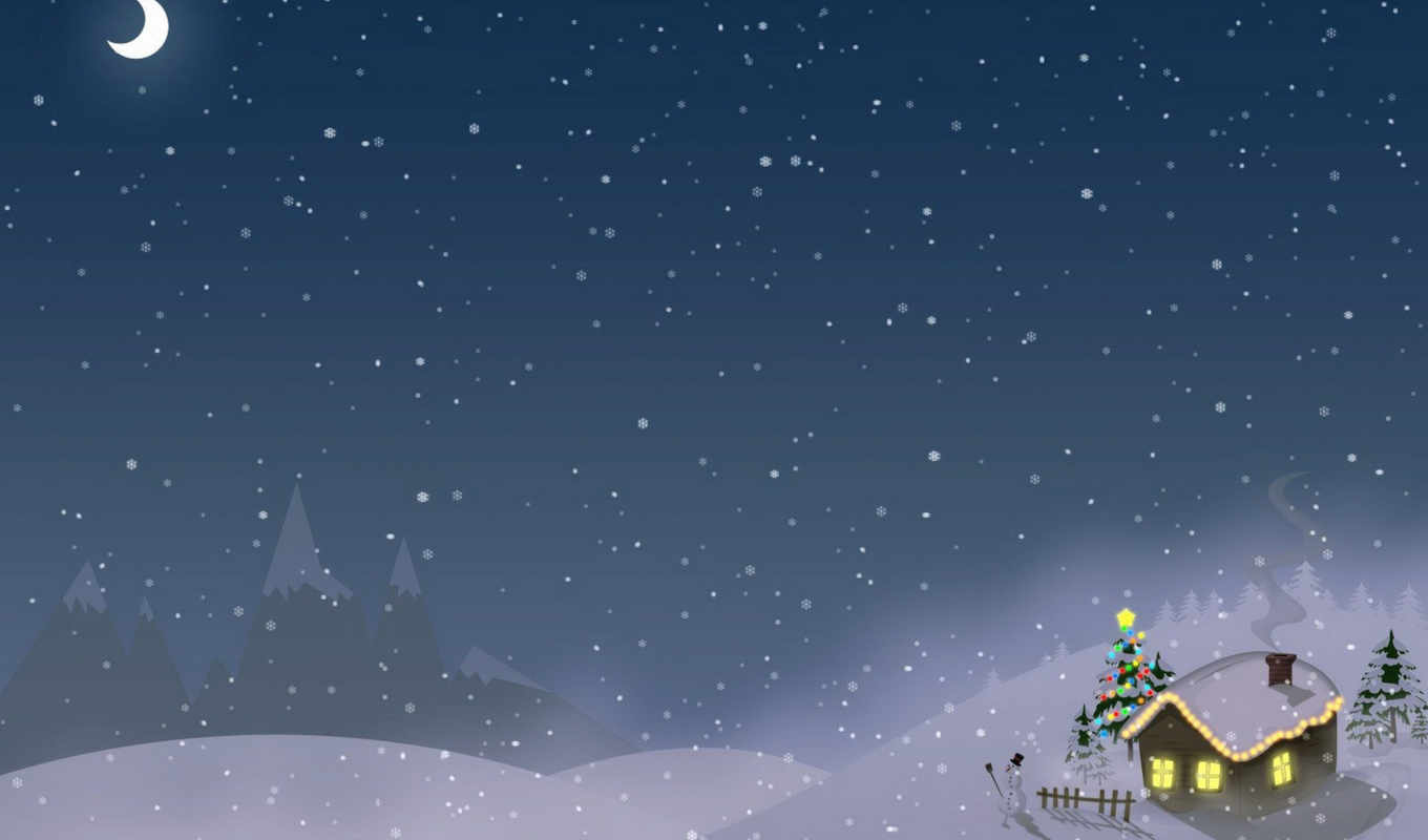christmas, new, year, снег, дом, winter, celebration, holiday, xmas, merry, gifts, graphics, vector, moon, trees, новогодние,