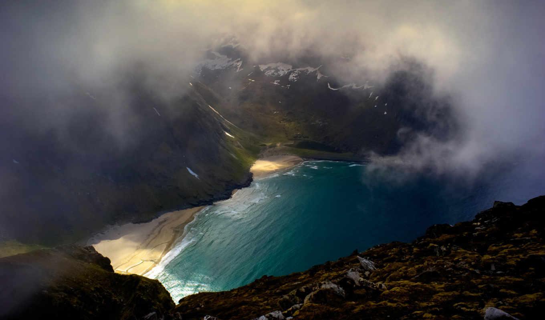 moskenes, island, norway, clouds, kvalvika, background, bay, download, free, break, daily,