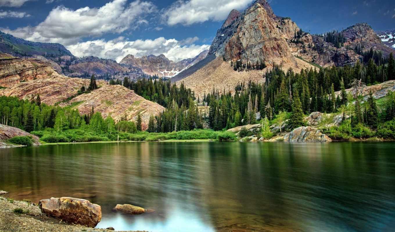 landscape, горы, пейзажи -, озеро,
