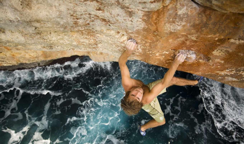 cliff, море, climber, парень, отвесная, extreme, мужчина, angle, без,