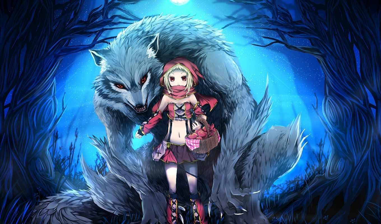 art, волк, катание, red, капюшон, красная, шапка, девушка, little,