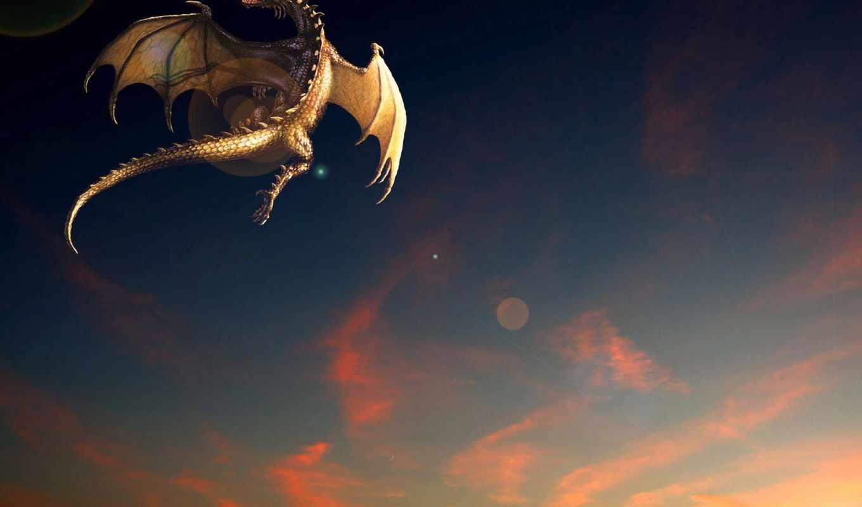 дракон, фэнтези, полет, закат, fantasy, flying, фотообои,
