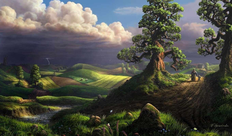 буря, landscape, lightning, облако, арта, house, дерево, река, прогулка, бабушка, weed