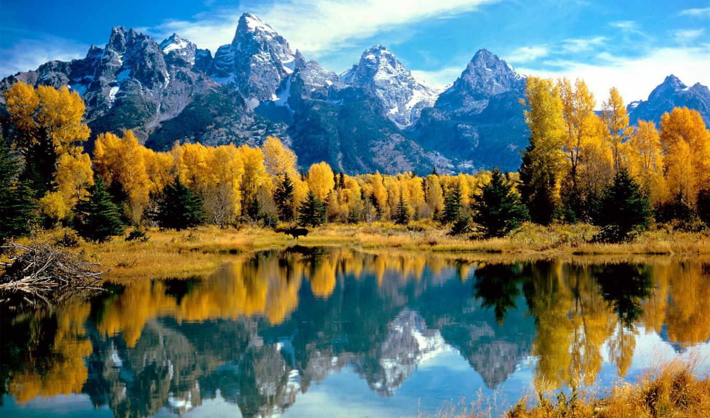 ,озеро,горы,лес,осень,