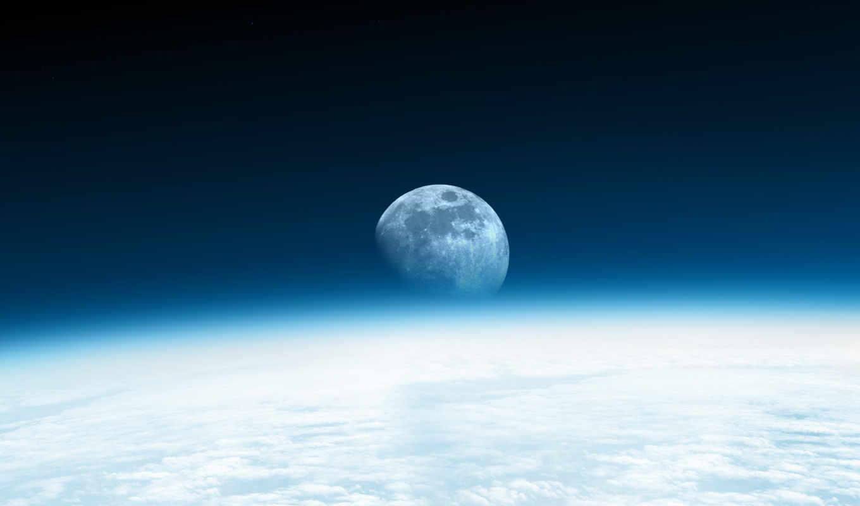 космос, луна, озон, земля, небо, картинка, далеко, небе, moon, and,