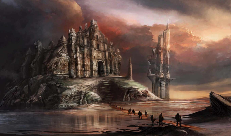 art, фантастика, church, люди, water, planet, другая,