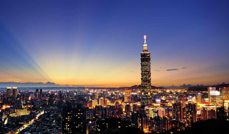 taipei, skyline, taiwan, desktop, world, del, города, ткань,