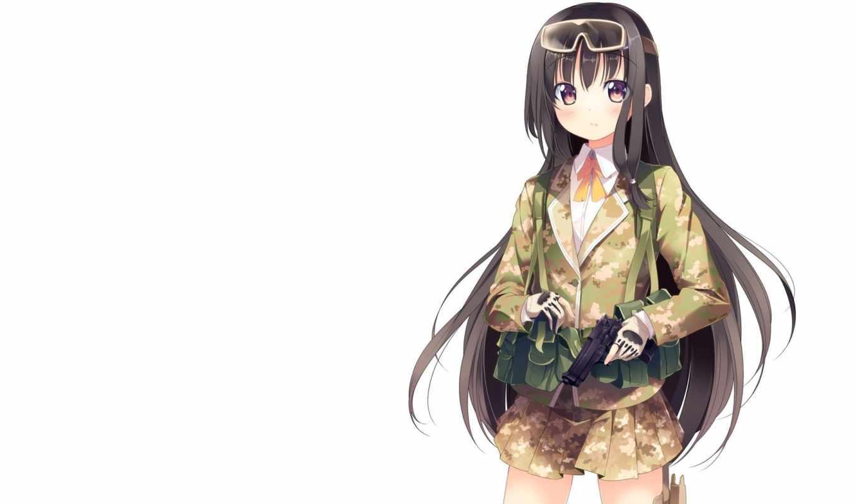 волосы, anime, длинные, форма, школьная, оружие, юбки, перчатки, ленты,