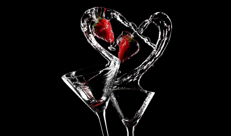 сердце, кадр, клубника, бокалы