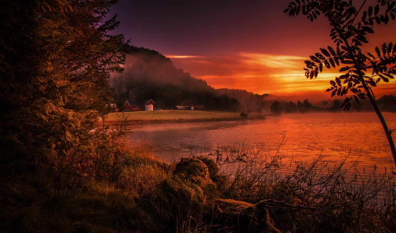 норвегия, desktop, закат, фон, bay, best,