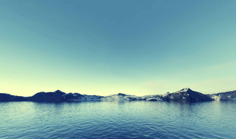 горы, снег, лед, море,
