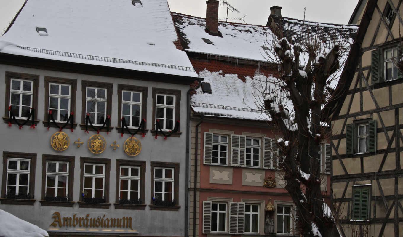 крыши, город, дома, германия, winter, рисунки,