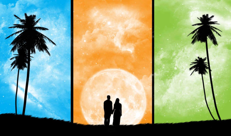 влюбленных, тени, love, луна, трио, года, поры, рисунки, влюбленные, нравится, романтика,