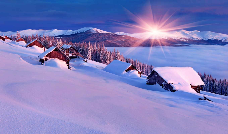 зима снег если солнце горы загрузить