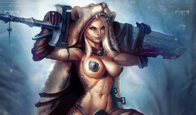 воительница, меч, кровь, девушка, шкура, арт,