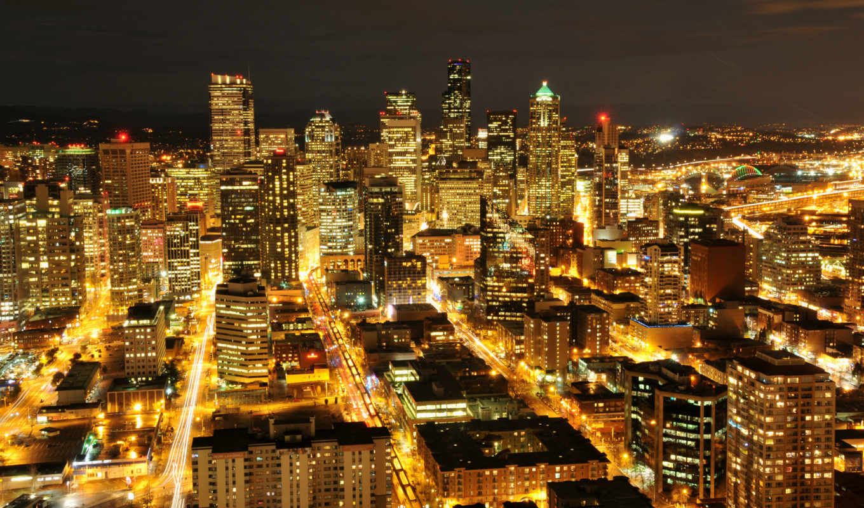 вашингтон, штат, сша, сиэтл, город, usa, ночной, arhitektura, кнопкой,