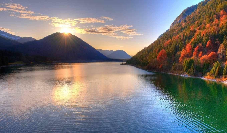 горы, солнце, природа, закат, river, горой, над, солнца, восход, озеро, desktop,